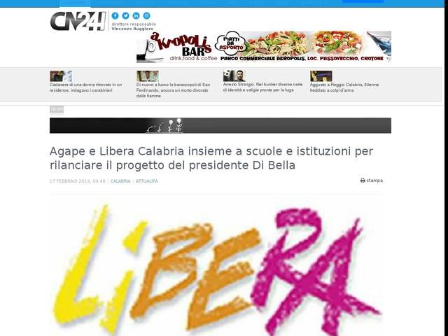 Agape e Libera Calabria insieme a scuole e istituzioni per rilanciare il progetto del presidente Di Bella