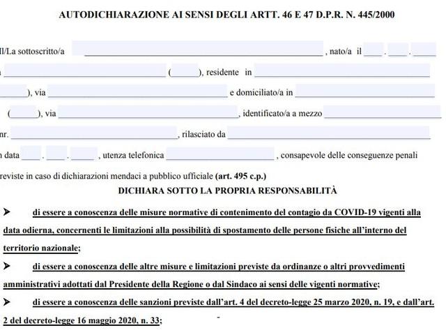 Coronavirus: ecco il modulo di autocertificazione per Campania, Lazio e Lombardia