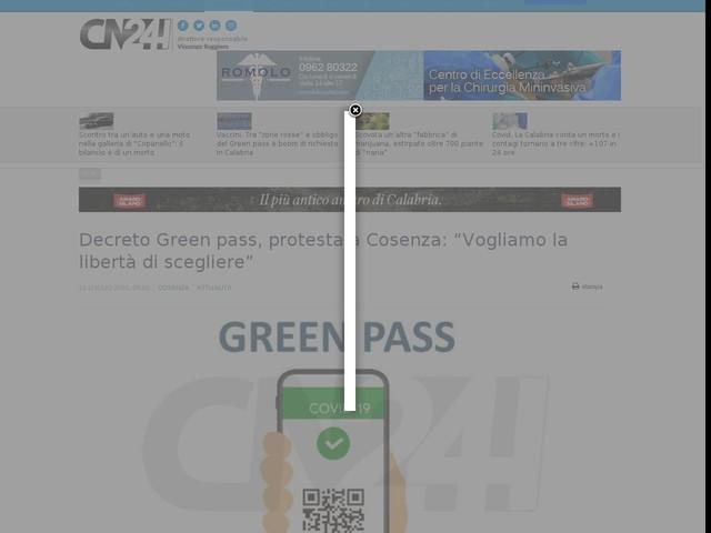 """Decreto Green pass, protesta a Cosenza: """"Vogliamo la libertà di scegliere"""""""