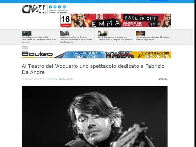 Al Teatro dell'Acquario uno spettacolo dedicato a Fabrizio De Andrè