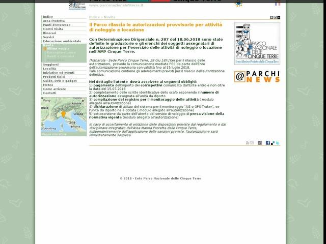 PN Cinque Terre - Il Parco rilascia le autorizzazioni provvisorie per attività di noleggio e locazione