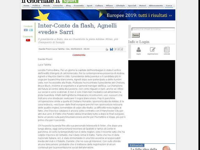 Inter-Conte da flash, Agnelli «vede» Sarri