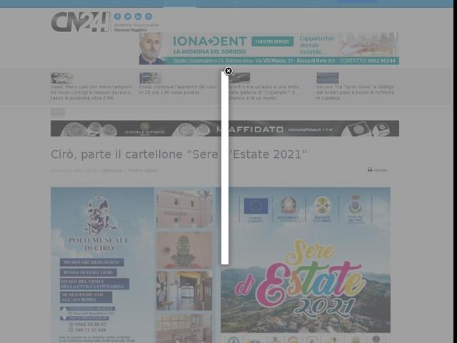 """Cirò, parte il cartellone """"Sere d'Estate 2021"""""""
