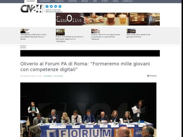 """Oliverio al Forum PA di Roma: """"Formeremo mille giovani con competenze digitali"""""""