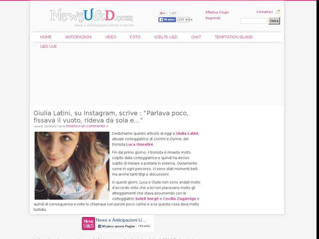 """Giulia Latini, su Instagram, scrive : """"Parlava poco, fissava il vuoto, rideva da sola e…"""""""
