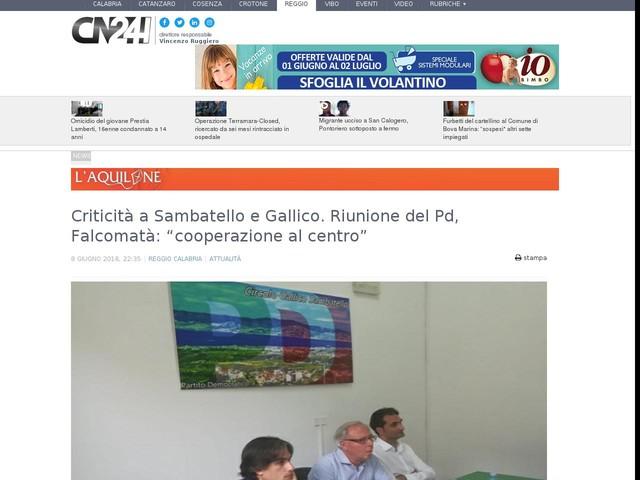 """Criticità a Sambatello e Gallico. Riunione del Pd, Falcomatà: """"cooperazione al centro"""""""