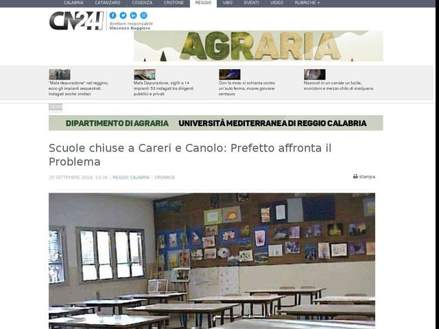 Scuole chiuse a Careri e Canolo: Prefetto affronta il Problema