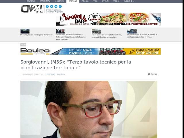 """Sorgiovanni, (M5S): """"Terzo tavolo tecnico per la pianificazione territoriale"""""""