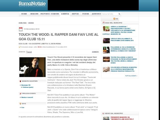 Touch The Wood: Il rapper Dani Faiv live al Goa Club 15.11