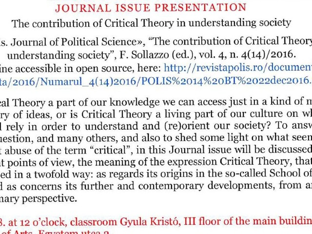 Critical Theory: Journal Issue Presentation