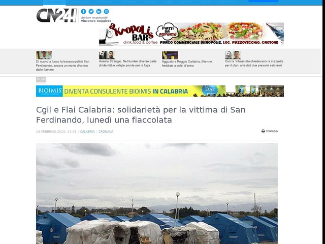 Cgil e Flai Calabria: solidarietà per la vittima di San Ferdinando, lunedì una fiaccolata