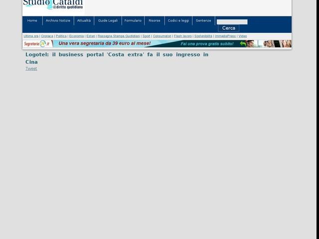 Logotel: il business portal 'Costa extra' fa il suo ingresso in Cina
