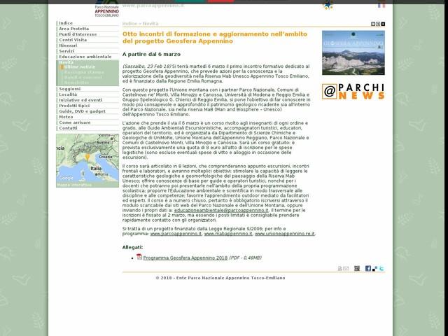 PN Appennino Tosco-Emiliano - Otto incontri di formazione e aggiornamento nell'ambito del progetto Geosfera Appennino