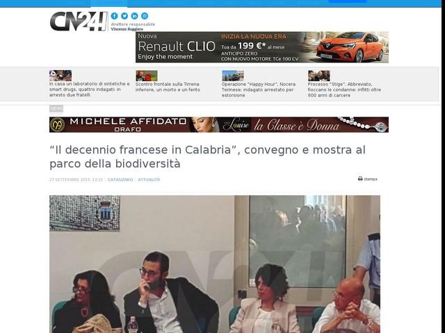 """""""Il decennio francese in Calabria"""", convegno e mostra al parco della biodiversità"""
