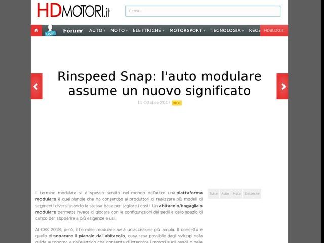 Rinspeed Snap: l'auto modulare assume un nuovo significato