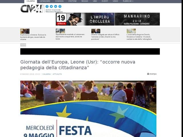 """Giornata dell'Europa, Leone (Usr): """"occorre nuova pedagogia della cittadinanza"""""""