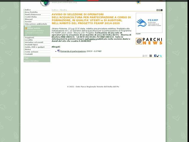 PR Delta Po Veneto - AVVISO DI SELEZIONE DI OPERATORI DELL'ACQUACOLTURA PER PARTECIPAZIONE A CORSO DI FORMAZIONE, IN QUALITA' UTENTI e DI AUDITORI, NELL'AMBITO DEL PROGETTO FEAMP 2014-2020