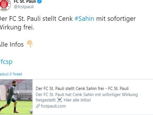 Sahin licenziato dal St. Pauli, l'Istanbul Basaksehir lo chiama: 'Torna a casa!'