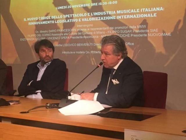 Musica live, il Presidente di Assomusica Vincenzo Spera incontra il MinistroFranceschini