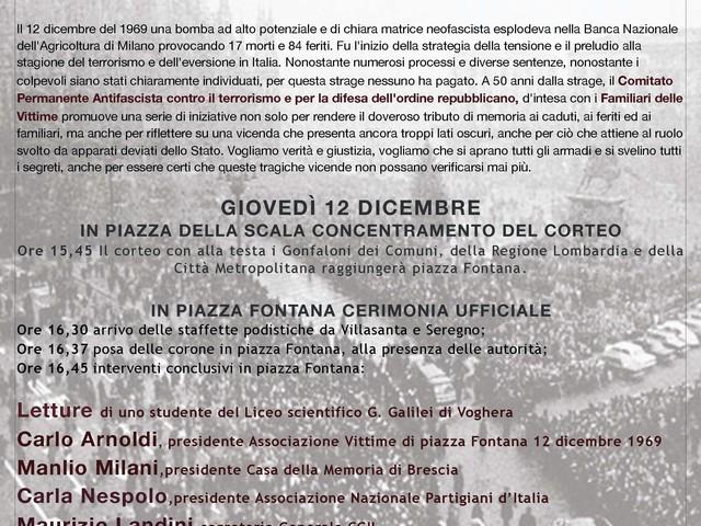 12 DICEMBRE 2019: 50° ANNIVERSARIO DELLA STRAGE DI PIAZZA FONTANA