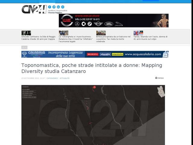 Toponomastica, poche strade intitolate a donne: Mapping Diversity studia Catanzaro