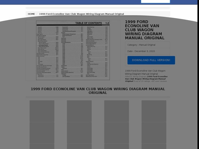 Ford Econoline Van Club Wagon Wiring Diagram Manual Original