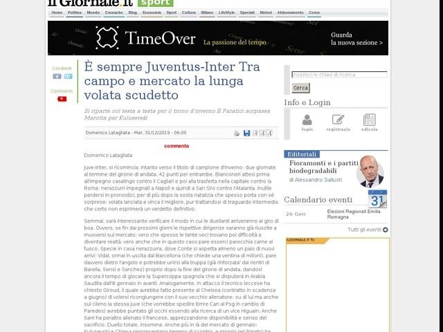 È sempre Juventus-Inter Tra campo e mercato la lunga volata scudetto