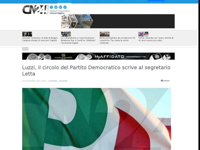 Luzzi, il circolo del Partito Democratico scrive al segretario Letta
