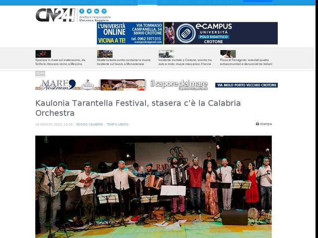Kaulonia Tarantella Festival, stasera c'è la Calabria Orchestra