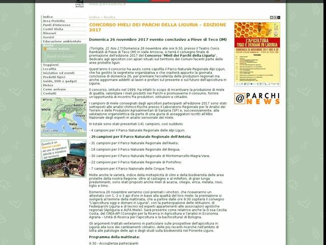 PR Antola - CONCORSO MIELI DEI PARCHI DELLA LIGURIA – EDIZIONE 2017