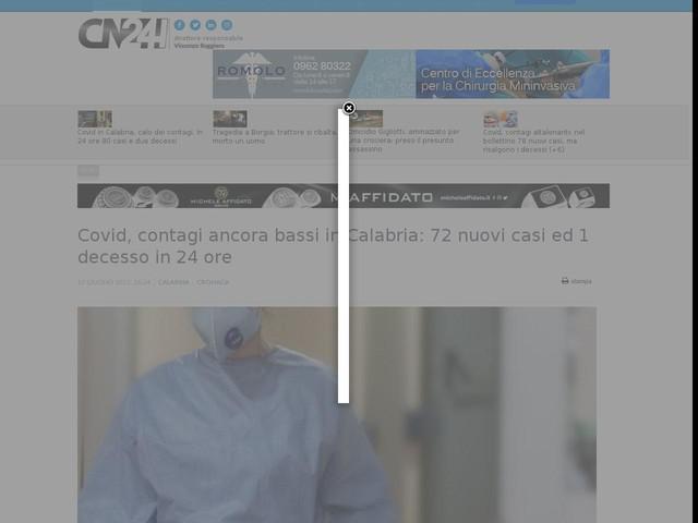 Covid, contagi ancora bassi in Calabria: 72 nuovi casi ed 1 decesso in 24 ore
