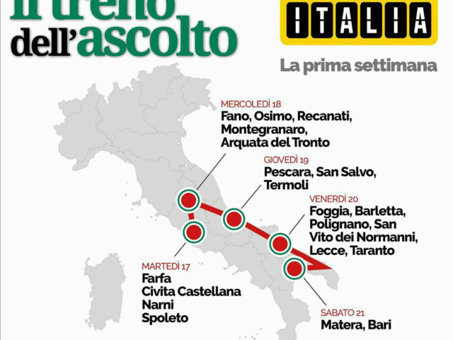 Renzi in Puglia, oggi e domani le tappe in treno Sabato anche Matera