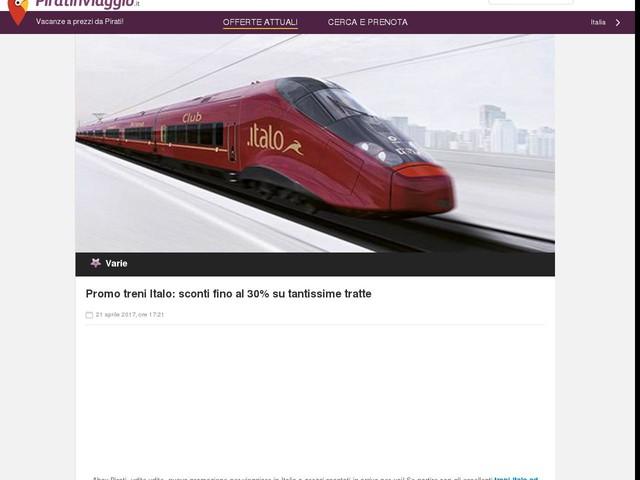 Promo treni Italo: sconti fino al 30% su tantissime tratte