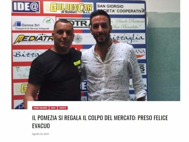 Il Pomezia compra Evacuo, ma presenta online quello sbagliato: l'errore diventa virale!