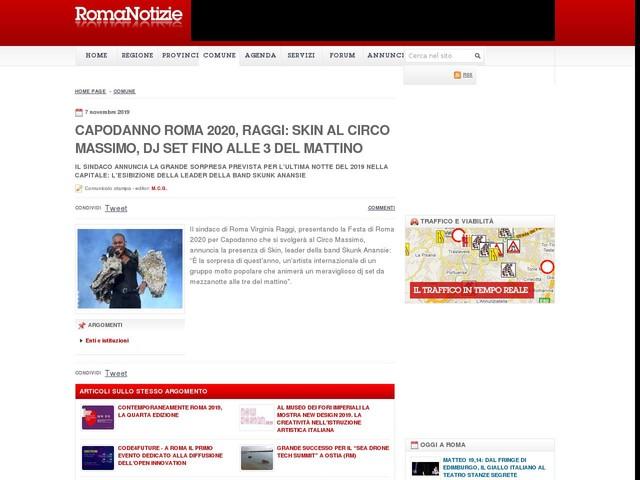 Capodanno Roma 2020, Raggi: Skin al Circo Massimo, Dj set fino alle 3 del mattino