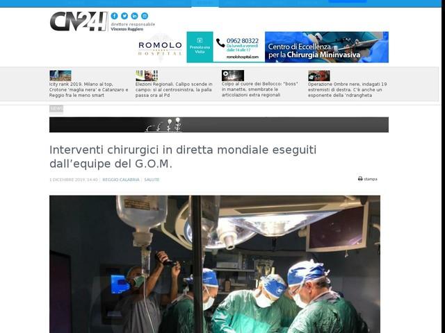 Interventi chirurgici in diretta mondiale eseguiti dall'equipe del G.O.M.