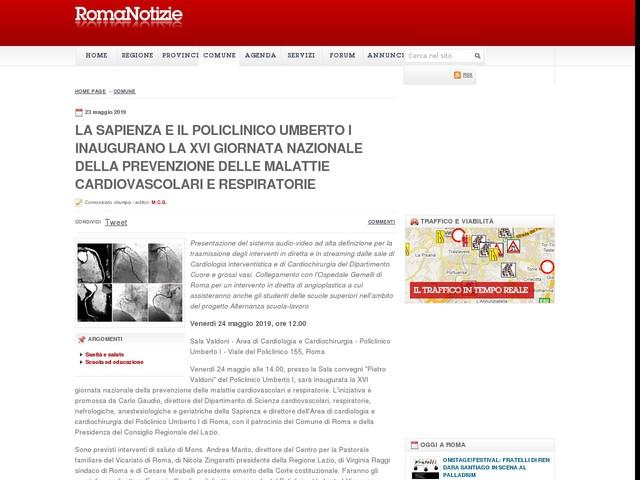 La Sapienza e il Policlinico Umberto I inaugurano la XVI giornata nazionale della prevenzione delle malattie cardiovascolari e respiratorie