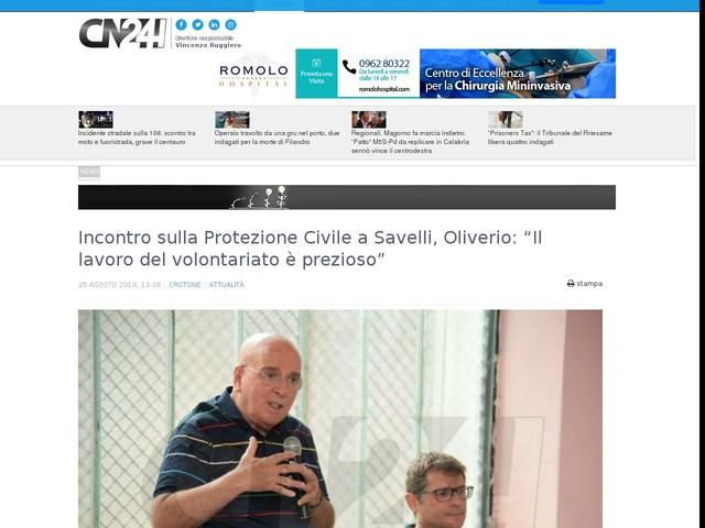 """Incontro sulla Protezione Civile a Savelli, Oliverio: """"Il lavoro del volontariato è prezioso"""""""