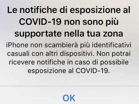 Ma se IMMUNI dice: «Le notifiche di esposizione al COVID-19 non sono più supportate nella tua zona» allora mi geolocalizza?
