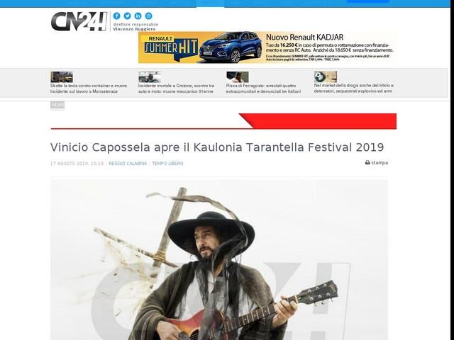 Vinicio Capossela apre il Kaulonia Tarantella Festival 2019
