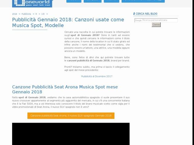 Pubblicità Gennaio 2018: Canzoni usate come Musica Spot, Modelle