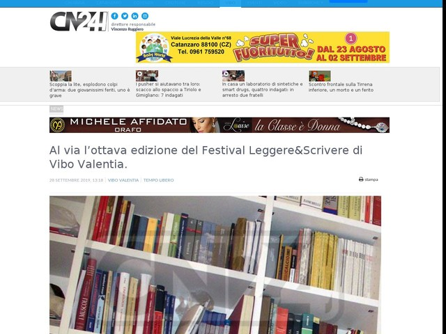 Al via l'ottava edizione del Festival Leggere&Scrivere di Vibo Valentia.