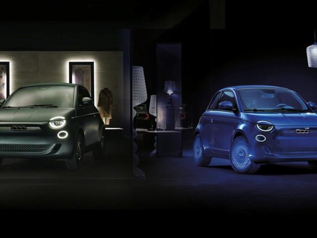 La griffe Armani e il Blu Kartell per Fiat 500 Elettrica