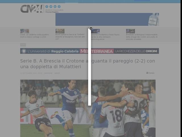 Serie B. A Brescia, il Crotone agguanta il pareggio con una doppietta di Mulattieri
