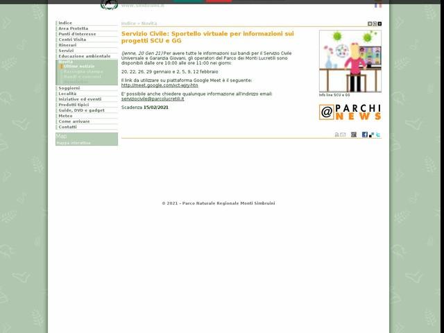 PR Monti Simbruini - Servizio Civile: Sportello virtuale per informazioni sui progetti SCU e GG