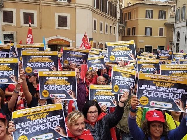 Pulizia scuole: alta adesione allo sciopero
