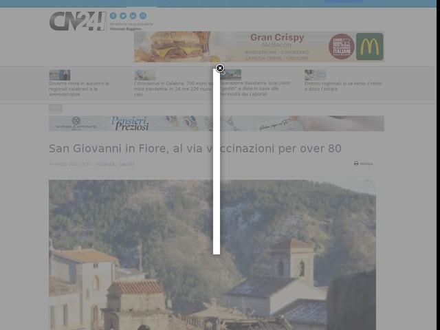 San Giovanni in Fiore, al via vaccinazioni per over 80