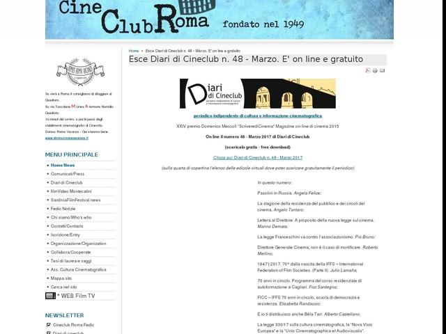 Esce Diari di Cineclub n. 48 - Marzo. E' on line e gratuito