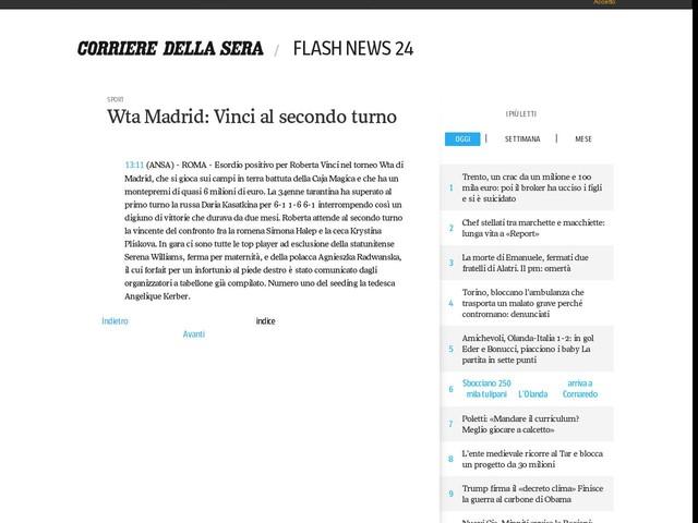 Wta Madrid: Vinci al secondo turno