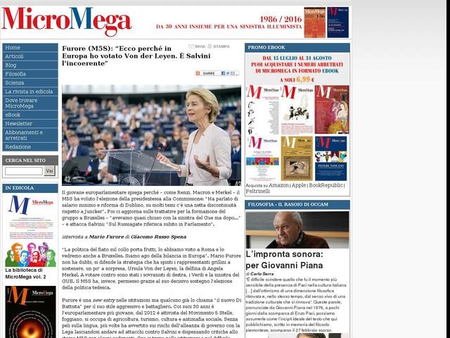 """Furore (M5S): """"Ecco perché in Europa ho votato Von der Leyen. È Salvini l\'incoerente"""""""